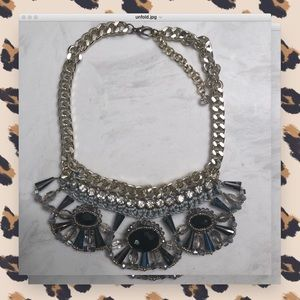 Glitzy Floral Statement Necklace
